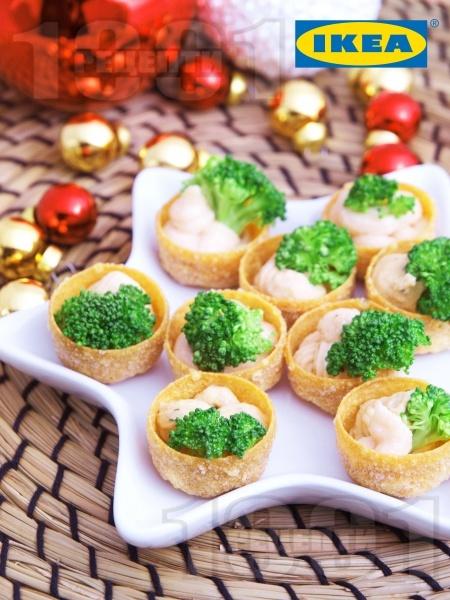 Хрупкави гурме кошнички с броколи и рибен пастет - снимка на рецептата